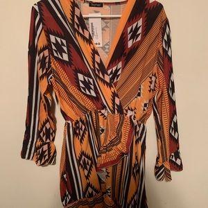 Boho Aztec Ruffle Dress